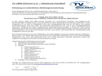 """Handball """"Einladung zur ordentlichen Abteilungsversammlung"""""""